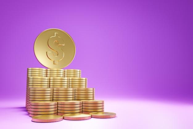 Vista de baixo da linha de moedas de ouro empilhadas como um passo para a moeda grande