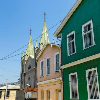 Vista, de, casas, com, igreja, valparaiso, chile