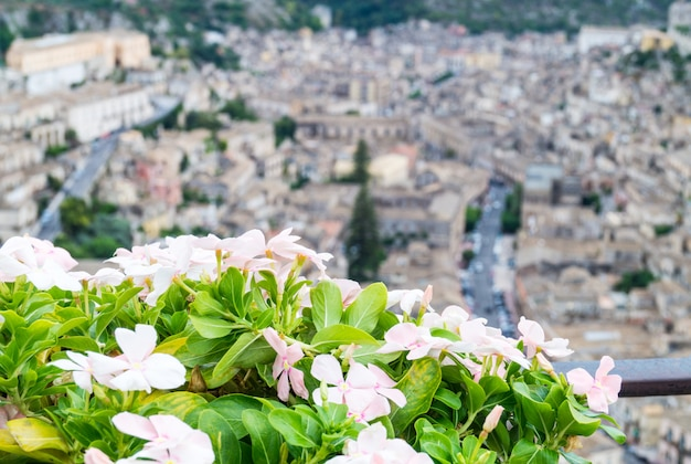 Vista, de, casas, em, cidade velha, modica, sicília