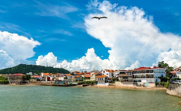 Vista de casco viejo, o bairro histórico da cidade do panamá, um patrimônio mundial da unesco
