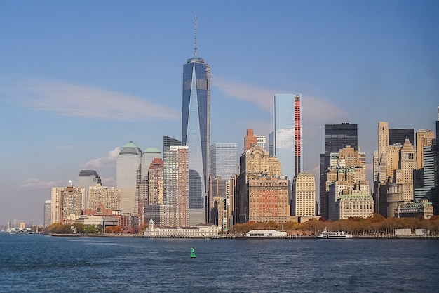 Vista, de, cidade nova iorque, centro cidade, de, a, hudson, rio