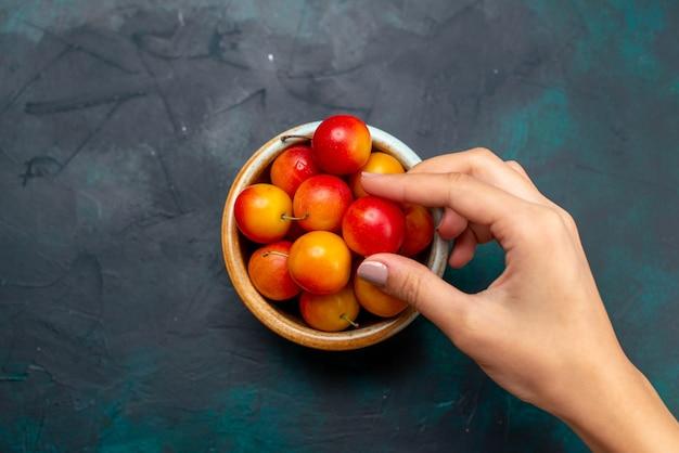 Vista de cima ameixas-cereja frescas frutas ácidas e maduras dentro de uma pequena panela na mesa azul-escura fruta suave vitamina fresca