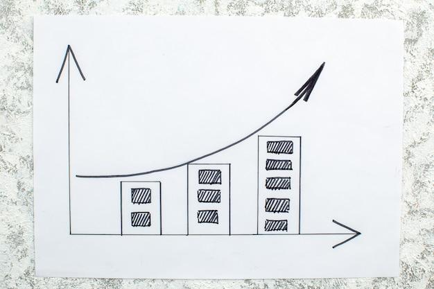 Vista de cima aumentando o desenho do gráfico no papel