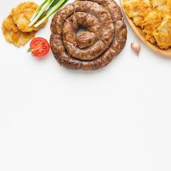 Vista de cima comida deliciosa com cópia-espaço