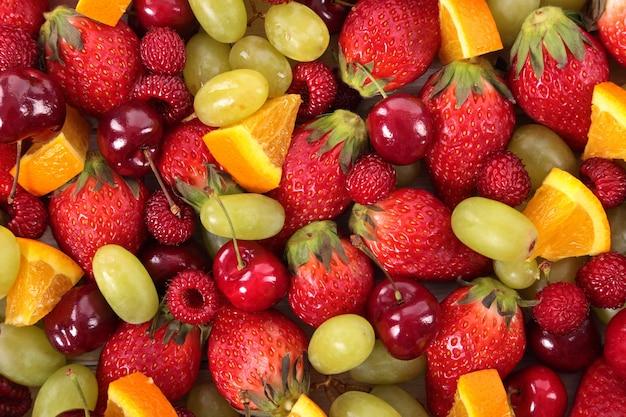 Vista de cima de fruta misturada