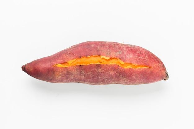 Vista de cima de saborosa batata-doce
