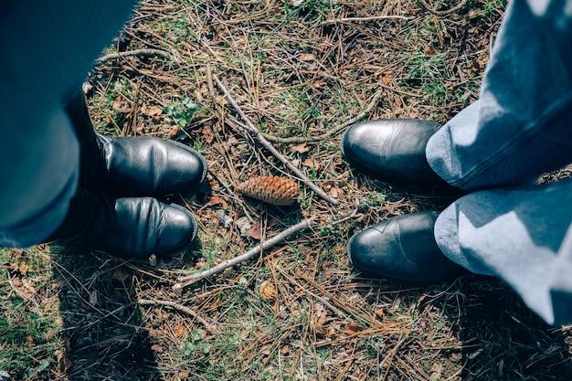 Vista de cima de um casal de idosos em pé na grama com uma pinha no meio