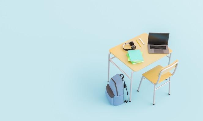 Vista de cima de uma carteira escolar com fones de ouvido para laptop, livros e mochila