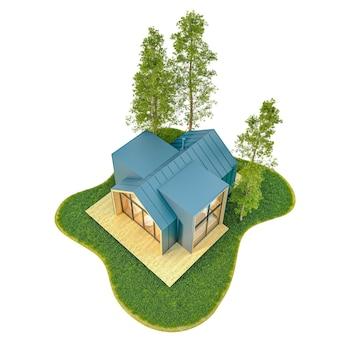 Vista de cima de uma pequena casa moderna de madeira no estilo escandinavo com telhado de metal em uma ilha com gramado verde e abetos.