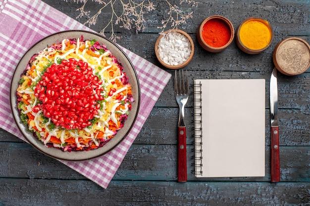 Vista de cima do prato e prato de toalha de mesa na toalha de mesa quadriculada ao lado do caderno de faca de garfo de especiarias