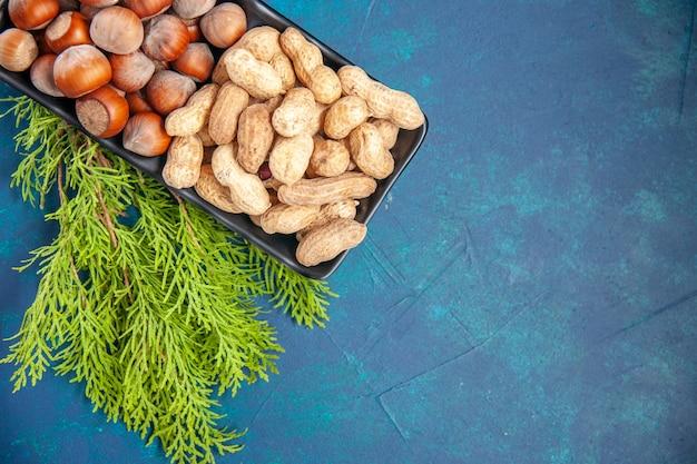 Vista de cima, nozes frescas, amendoins e avelãs dentro do prato, no fundo azul, cor de noz, lanche, cips, nozes, foto, planta, árvore