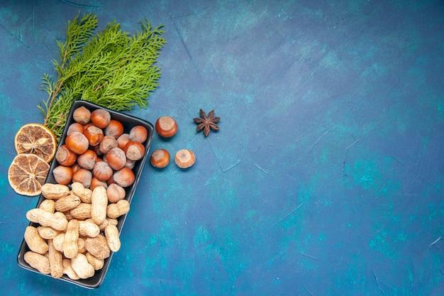 Vista de cima, nozes frescas, avelãs e amendoins no fundo azul, cor de noz, lanche cips, planta, árvore, foto de nozes