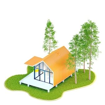 Vista de cima, pequena casa moderna com moldura branca em um celeiro de estilo escandinavo com telhado laranja em uma ilha com gramado verde e abetos. ilustração 3d em um branco isolado
