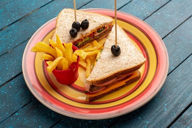 Vista de cima sanduíches saborosos dentro de um prato colorido dentro de presunto de queijo com batatas fritas na refeição de sanduíche com fundo de madeira azul
