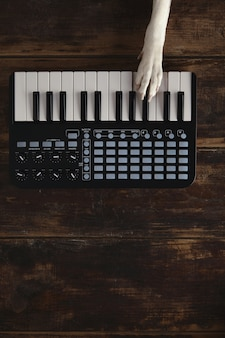 Vista de cima uma pata de cachorro no mixer de teclado sem fio compacto de piano midi toca melodia.