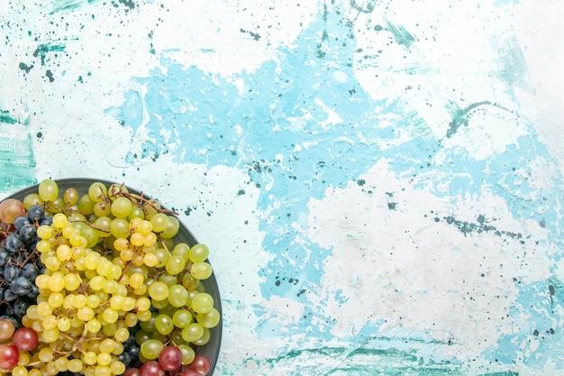 Vista de cima uvas frescas coloridas frutas suculentas e maduras no fundo azul claro frutas baga suco fresco maduro vinho