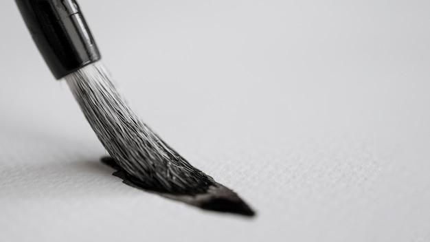 Vista de close-up do conceito de tinta chinesa
