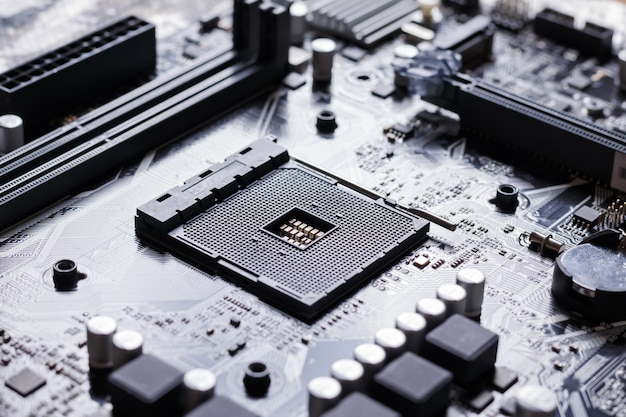 Vista, de, cpu, soquete, ligado, pc, computador, motherboard
