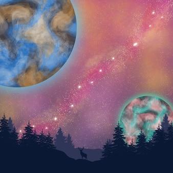 Vista de dois lindos planetas e galáxias