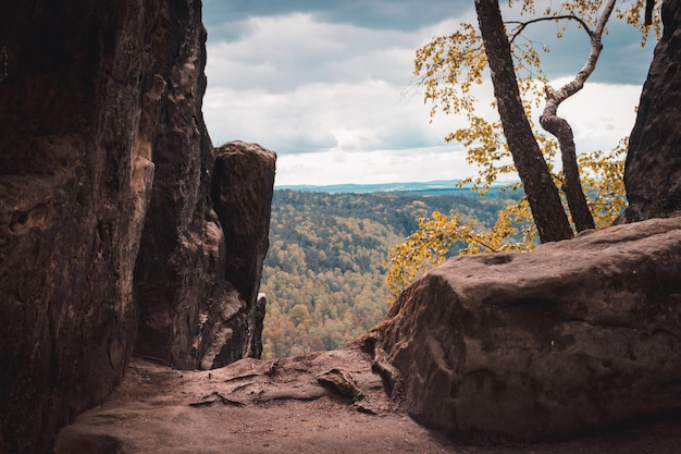 Vista, de, elbe, arenito, montanhas, saxon, suíça, parque nacional, alemanha