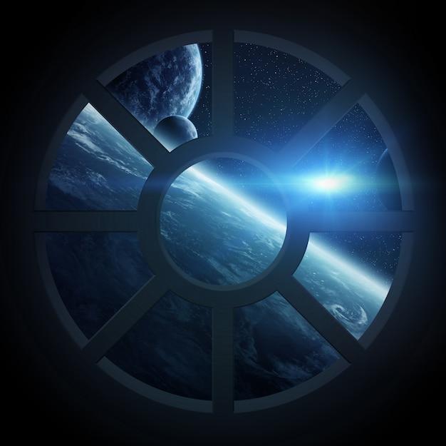 Vista, de, espaço exterior, de, um, nave espacial, cabana
