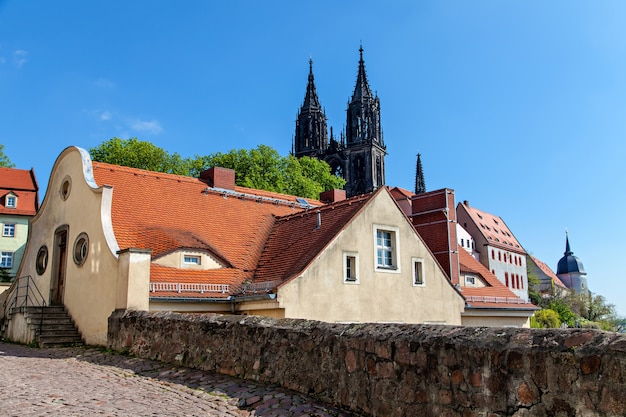 Vista de frauenkirche, saxônia, alemanha