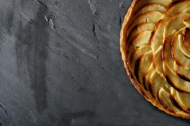 Vista, de, freshly baked, maçã, azedo, ligado, ardósia, com, espaço texto