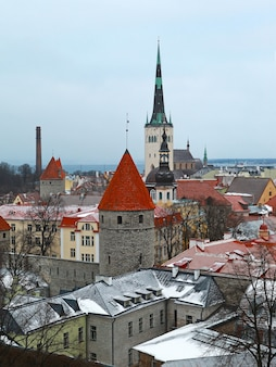 Vista de inverno em telhas cobertas de neve dos edifícios da cidade de tallinn
