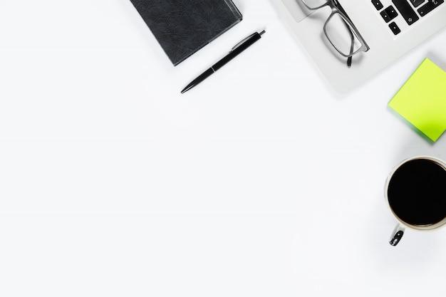Vista de mesa de trabalho, plana leigos