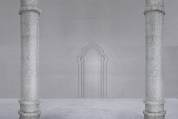 Vista, de, mesquita, interior, com, bonito, padrão