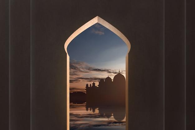 Vista, de, mesquita, silueta, de, janela