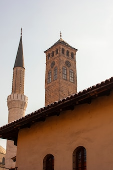 Vista, de, minaret, e, torre clock, sarajevo