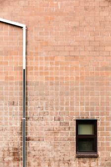 Vista, de, parede tijolo, com, janela