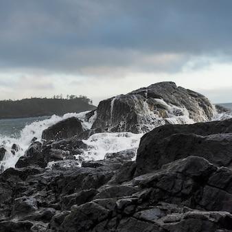 Vista, de, pedras, em, litoral, pettinger, ponto, cox, baía, parque nacional beira pacífico, reserva, tofino, bri