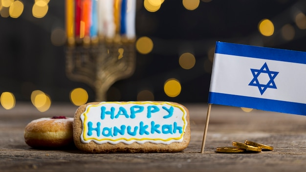 Vista de perto do belo conceito de hanukkah