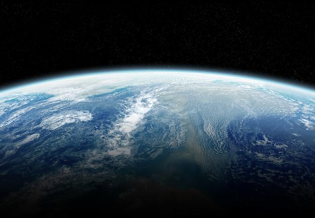 Vista, de, planeta, terra, cima, com, atmosfera, durante, um, amanhecer elementos, de, este, imagem, fornecido pela nasa