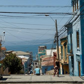 Vista, de, rua, com, casas, direção, oceânicos, valparaiso, chile