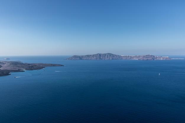 Vista, de, santorini, caldera, em, grécia, de, a, costa