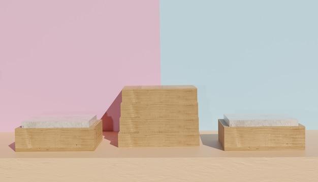 Vista de suporte vazio de madeira e mármore com escadas no meio, renderização em 3d foto premium