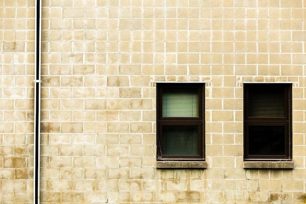 Vista, de, tijolo, predios, com, janelas