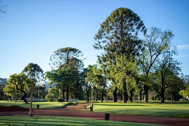Vista de um belo parque com áreas verdes e solo avermelhado, localizado dentro da cidade