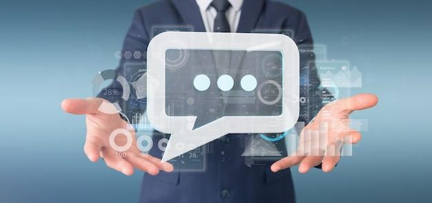 Vista, de, um, homem negócios, segurando, um, mensagem, ícone, com, dados, em, fundo, -, 3d, fazendo