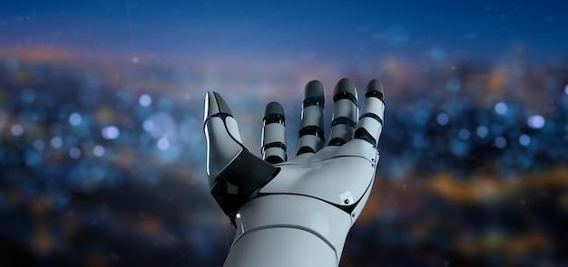 Vista, de, um, robô, mão, cyborg, -, 3d, fazendo