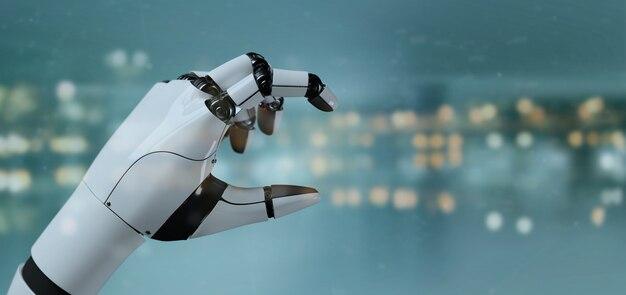 Vista, de, um, robô, mão, cyborg