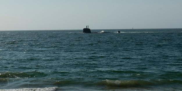 Vista, de, um, submarino, em, sul, oceano pacífico, vina del mar, chile