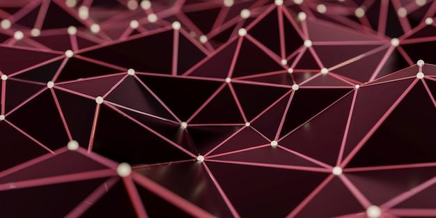 Vista de uma estrutura de conexão abstrata com pontos e linhas de conexão - rendição 3d