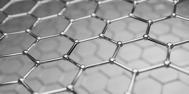 Vista de uma estrutura de nanotecnologia molecular de grafeno - renderização em 3d