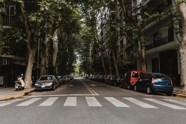 Vista de uma rua da cidade com faixa de pedestres e carros