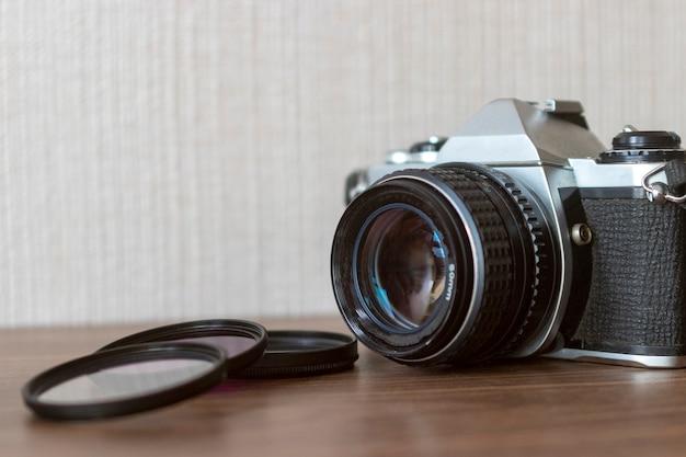 Vista, de, vindima, câmera, e, filtros