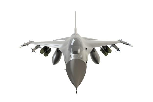 Vista dianteira, de, f16, americano, militar, avião lutador, branco, fundo, 3d, fazendo